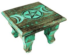Triple Goddess Antiqued Altar Table - pagan wiccan witchcraft magick ritual