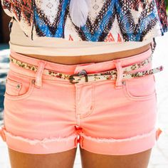 cute!! use bleach on a pair of jean shorts then use a pink dye and soak for 20 minutes!! Dry!!