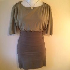 Alice  + Olivia olive silk dress Alice + Olivia olive silk dress. Silk top with silk/viscose/spandex bandage bottom. Has a back button closure with opening to waist. Back zipper. Recently dry cleaned on 11/24/15. Size is 4. Not interested in trades. Alice + Olivia Dresses
