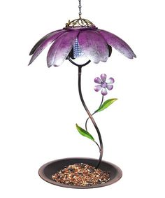 Purple Daisy Solar Bird Feeder