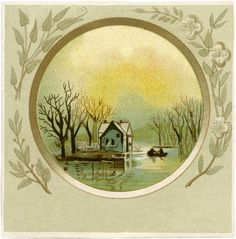 Vintage Cottage on River Image! - The Graphics Fairy