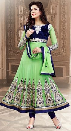 Splendid Navy Blue & Mint Green #Anarkali Suit
