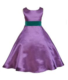 Purple A-Line Satin Flower Girl Dress Wedding Pageant Communion Recital Special Occasions 821s