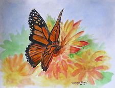 Sandra K Peek monarch butterfly mums painting a day 9x12 small watercolor
