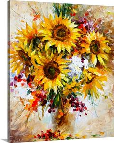 "Yellow abstract sunflower art - ""Sunflowers of Happiness"" wall art by Leonid Afremov from Great BIG Canvas."