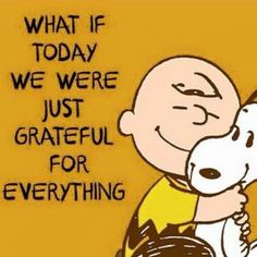 Think every single day what you're grateful for and record it on paper! Charlie Brown and snoopy quote. Life Quotes Love, Great Quotes, Me Quotes, Motivational Quotes, Inspirational Quotes, Crush Quotes, Happy Quotes, Peanuts Quotes, Snoopy Quotes