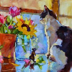 Original artwork from artist Dreama Tolle Perry on the Daily Painters Gallery Art And Illustration, Crayons Pastel, Image Chat, Artist Gallery, Animal Paintings, Cat Art, Painting Inspiration, Creative Art, Flower Art