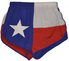 Texas flag running shorts? Yes, please! Also available for the flags of California, Colorado, & Maryland.  Whenever they make Wisconsin's, I'll want those too!