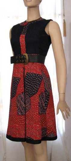 1960s Elinor Simmons for Malcolm Starr - linen bodice with quilted calico and fully lined with cotton and rayon