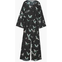 MANGO Long Printed Jumpsuit (€37) ❤ liked on Polyvore featuring jumpsuits, patterned jumpsuit, print jumpsuit, long jumpsuits, mango jumpsuit and jump suit