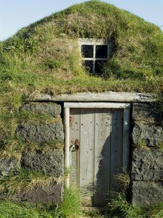 Traditional Turf House, Eyrabakki, Iceland, Polar Regions Photographic Print by Ethel Davies