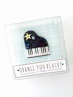 Piano Glittered Pop-Up Hair Clip glitter by OrangeYouPeachy