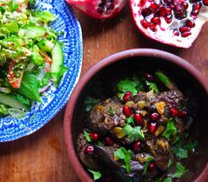 Lebanese style chicken livers in pomegranate syrup.