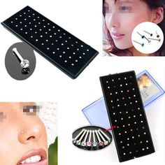 60pcs Crystal Rhinestone Nose Ring Stud Stainless Steel Body Piercing Jewelry #UnbrandedGeneric