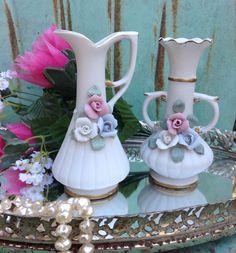 Shabby Chic Vase Set Ceramic Vase Set Pair of by PinkHenStudio