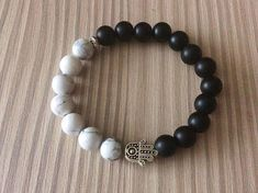Hamsa stretch bracelet White black gemstone bracelet Howlite
