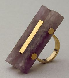 Ettore Sottsass Ring, Gold and quartz. 1964 Editied by Walter de Mario