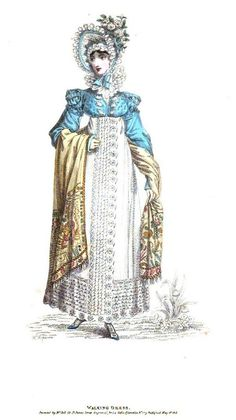 Walking dress, from La Belle Assemblee, April 1814. Look at that beautiful cashmere shawl!