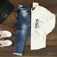 No trabalho ou no lazer, o jeans é sua melhor companhia.#camisa #calçaskinny #gdokymen #inverno18