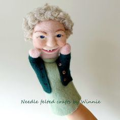 Happy grandma hand puppet needle felted by FunFeltByWinnie on Etsy