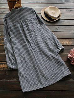 Women Stripe Turn-Down Collar Button Long Sleeve Shirt Dress at Banggood