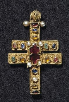 Byzantine gold cross with gems