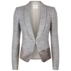 Armani Collezioni Textured Peplum Jacket (1,020 SGD) ❤ liked on Polyvore featuring outerwear, jackets, armani collezioni, tailored jacket, armani collezioni jacket, quilted jacket and textured jacket