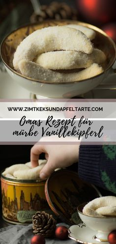 Rezept für einfache und mürbe Vanille-Kipferl zum Selber backen Grandma's recipe for tender and tender vanilla biscuits. The classic easy to bake yourself. Super fine, delicious and must not be mi Easy Cake Recipes, Baking Recipes, Cookie Recipes, Vanilla Biscuits, Cookies Et Biscuits, Food Cakes, No Bake Chocolate Desserts, Pavlova, Christmas Baking