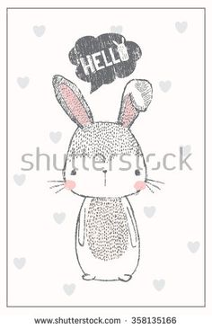cute bunny illustration for apparel or other uses,in vector. - stock vector