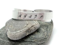 Custom Two Finger Ring Custom Hand Stamped Name Ring by MerCurios, $28.00