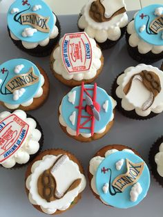 Vintage airplane themed birthday cupcake toppers