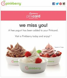 Pinkberry send out credit to inactive customers to re-engage with them. A great idea. #emailmarketing #email #digitalmarketing