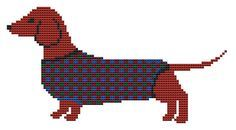 Dog Cross Stitch Kit  Dachshund Dog by FredSpools on Etsy, $16.00