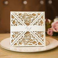 elegant rose laser cut wedding invitations with belly band swws013