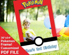 "Pokemon photo booth frame, Pokemon go birthday party favor, ash ketchum, misty, 36""x54"" printable Custom PDF file go decor decorations by ThePhotoBoothProp on Etsy https://www.etsy.com/il-en/listing/514859683/pokemon-photo-booth-frame-pokemon-go"