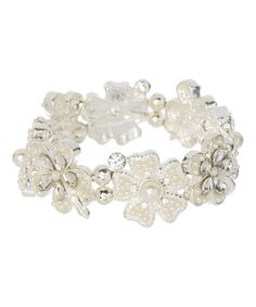 Look at this Cream Faux Pearl & Silvertone Floral Stretch Bracelet on #zulily today!