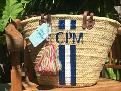 handcrafted monogrammed straw bag, monogrammed beach bag with leather handles