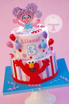 Beautiful Elmo and Abby Cadabby birthday cake for a Sesame Street birthday party!