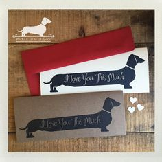 Long Doxie Love. Note Card -- (Romantic Card, Anniversary, Dog, Cute, Dachshund, Vintage-Style, Weiner Dog, Rustic, I Love You This Much)