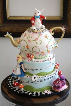 #Alice in #Wonderland #Tiered #Teapot #Cake - Hand painted and great details! We totally love and had to share! Great #CakeDecorating!
