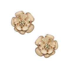 Gold Enamel and Crystal Flower Earrings ($18) ❤ liked on Polyvore featuring jewelry, earrings, fashion jewelryearrings, gold jewellery, gold enamel earrings, gold crystal earrings, crystal jewelry and flower jewelry