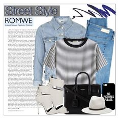 """Romwe Top"" by alexanderbrooks ❤ liked on Polyvore featuring Topshop, AG Adriano Goldschmied, Yves Saint Laurent, Giuseppe Zanotti, Casetify, rag & bone, StreetStyle and romwe"