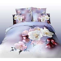 Shuian® Duvet Cover Set, 4 Piece Suit Comfort Simple Modern Ventilation Printed  3D Flower Pattern Full - USD $ 29.99