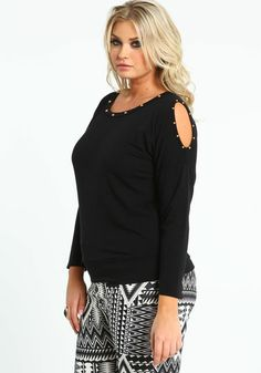 Plus Size Studded Coldshoulder Tee, BLACK, large