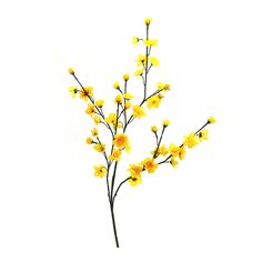 "Wired yellow cherry blossom branch measures 30"" tall. Sold in 12pcs/box. Perfect for a wedding wishing tree, woodland centerpiece, home decorations, floral ar"