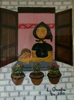 mujer y niña en la ventana. Para Blanca.