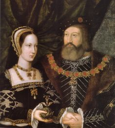 Attributed to Jan Mabuse (1478-1532) – Princess Mary Tudor & Charles Brandon, duke of Suffolk – c.1516. There are 2 versions of this double portrait celebrating the marriage of Mary to her brother's closest friend (this copy is at Woburn Abbey). They wed secretly in 1515, a mere six weeks after her 1st husband's death. Mary was passionately in love & willing to risk her brother's wrath. Brandon was in love & very ambitious. Their granddaughter was the unfortunate '9 Days Queen', Lady Jane Gr...