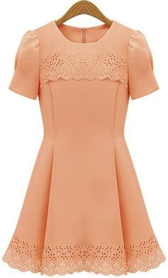 Thanksgiving Hostess dress $17.13 Vintage Round Neck Openwork Solid Color Puff Sleeve Women's Dress