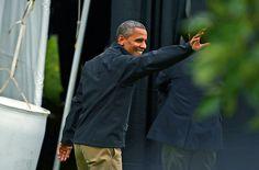63 10/4/12 President Barack Obama's waves good-bye to the crowd after a rally, Thursday, October 04, 2012, at Sloan's Lake Park in Denver. RJ Sangosti, The Denver Post