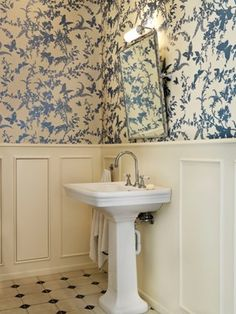 this florence broadhurst wallpaper could be a bit overwhelming, but the high wainscoting dials it back a bit.